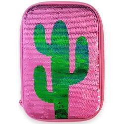 Kaktusz flitteres tolltartó, belső emeletes, üres