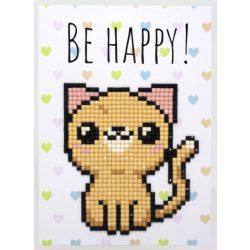 Gyémántfestés szett, ajándékkártya, cicás, 10x14cm, Be Happy!