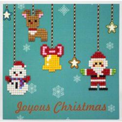 Gyémántfestés szett, ajándékkártya, karácsonyi, Joyous Christmas, 14x14cm