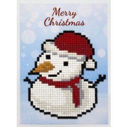 Gyémántfestés szett, ajándékkártya, hóember, Merry Christmas, 10x14cm