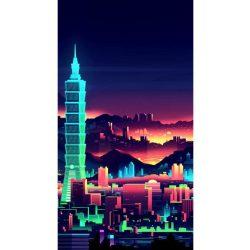 Gyémántfestés szett, éjszakai felhőkarcoló, 38x70cm