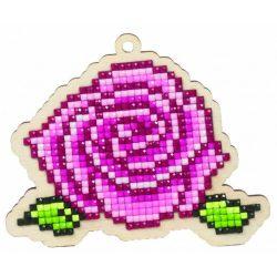 Gyémántfestés szett, fa alaplapos, rózsa, 9,8x8,3cm