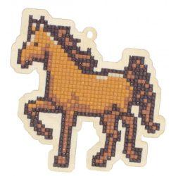 Gyémántfestés szett, fa alaplapos, ló, 10,6x10,6cm