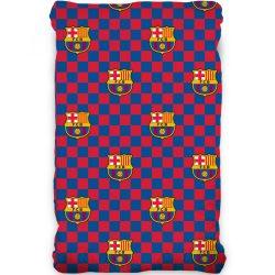FC Barcelona gumis lepedő 90*200 cm, kockás