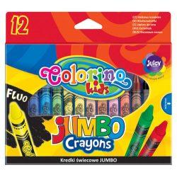 Colorino zsírkréta készlet, 12 db-os (1db fluo szín+asztali tartó), JUMBO