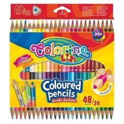 Színes ceruza készlet 24/48, DUO (kétvégű), Colorino trio, háromszög forma
