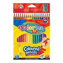 Színes ceruza készlet 18 db-os, (1db fluo), hegyezővel, Colorino trio, háromszög forma