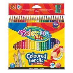Színes ceruza készlet 24 db-os, hegyezővel, Colorino trio