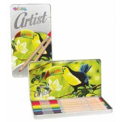 Színes ceruza készlet 12 db-os, fémdobozos, Colorino Artist, kerek