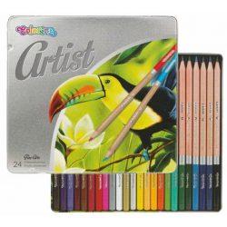 Színes ceruza készlet 24 db-os, fémdobozos, Colorino Artist, kerek