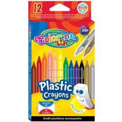Zsírkréta készlet, 12 db-os, radírozható, Colorino Plastic