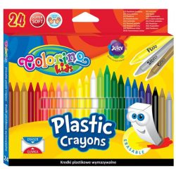 Zsírkréta készlet, 24 db-os, radírozható, Colorino Plastic