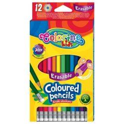 Színes ceruza készlet 12 db-os, radír véggel, radírozható, Colorino