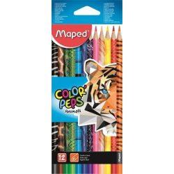 Színes ceruza készlet 12db-os, háromszög, Maped Color Peps ANIMAL