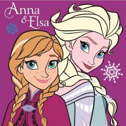 Jégvarázs plüss párna 35*35 cm, Anna és Elza, lila
