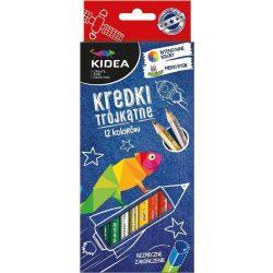 Színes ceruza készlet 12db-os, háromszög, Kidea