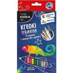 Színes ceruza készlet 15db-os, HB grafitceruzával, Kidea