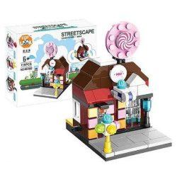 Építő kocka készlet, 126 db-os, Candy Store