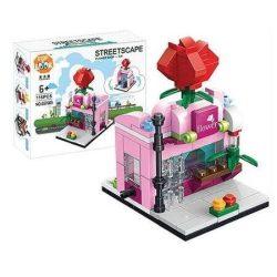 Építő kocka készlet, 126 db-os, Flower store
