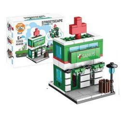 Építő kocka készlet, 120 db-os, Drugstore