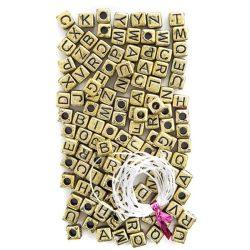 Betű gyöngyök, arany kocka, 124 db-os