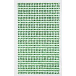 Strasszkő készlet, öntapadós, kör alakú 3mm-es 806 db/ív, zöld