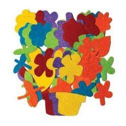 Filc formák, öntapadós, virágok, 60 db-os