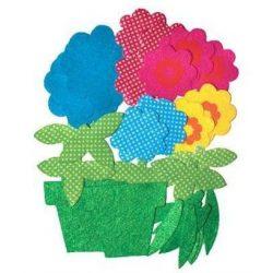 Filc formák, öntapadós, virágok, 36 db-os
