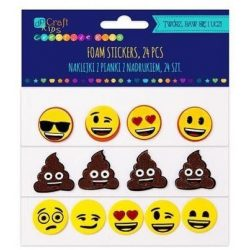 Dekorgumi, öntapadós, emoji, 24 db-os