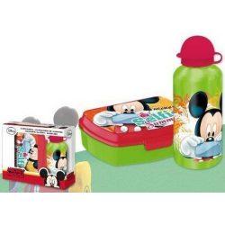 Mickey uzsonnás készlet, alumínium kulaccsal