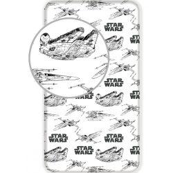 Star Wars gumis lepedő 90*200 cm, Millenium Falcon, fekete-fehér