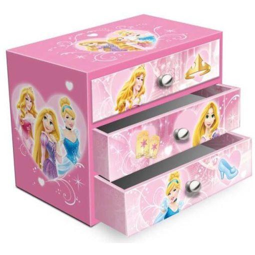 Hercegnők ékszertartó doboz 3 fiókkal