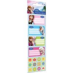 Jégvarázs füzetcímke matricával 12 db-os Frozen Elsa