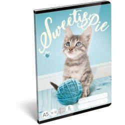 Cicás füzet A/5, 32 lap vonalas 2.osztály (16-32) Pet Sweetie Pie