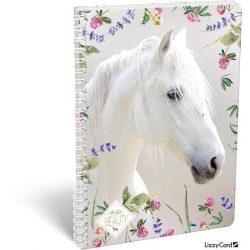 Lovas spirál füzet A/4 kockás Wild Beauty White