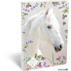 Lovas spirál füzet A/4 vonalas Wild Beauty White