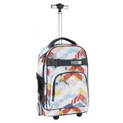 Paso gurulós hátizsák, táska, 51 cm, világos, rombusz mintával