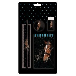 Lovas írószer szett, 5 db-os, fekete színű, barna lóval, Paso