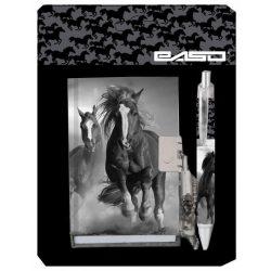 Lovas napló és toll szett, fekete-fehér