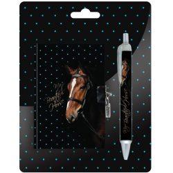 Lovas napló és toll szett, barna lóval
