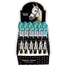 Lovas golyóstoll, 6 színű, fehér lóval, 1 db