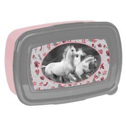 Lovas uzsonnás doboz, szürke színű, fehér lovakkal, Paso