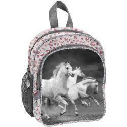 Lovas táska, hátizsák 26 cm, fehér lovakkal