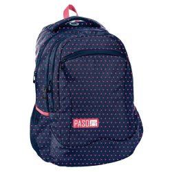 Paso hátizsák 43 cm, kék színű, rózsaszín szívecskés