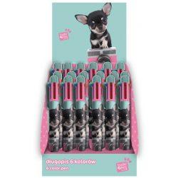 Kutyás golyóstoll, 6 színű, zöld-rózsaszín, csivava, Paso Studio Pets
