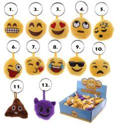 Emoji kulcstartó, plüss kulcstartó hanggal, 4cm, többféle