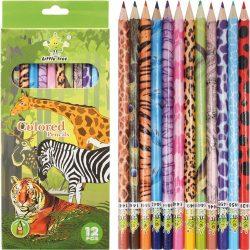 Színes ceruza készlet 12db-os, Little Tree, állatos