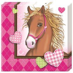 Lovas szalvéta 20 db-os, barna lóval
