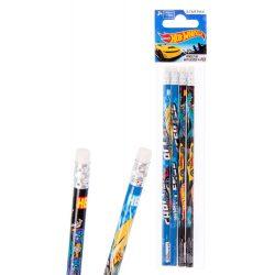 Hot Wheels grafit ceruza radírral, 4db/csomag