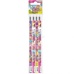 Barbie grafit ceruza radírral, 4db/csomag